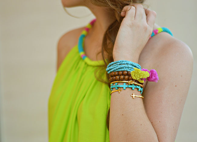 preppy southern girl, lime green dress, asos, beaded neckline