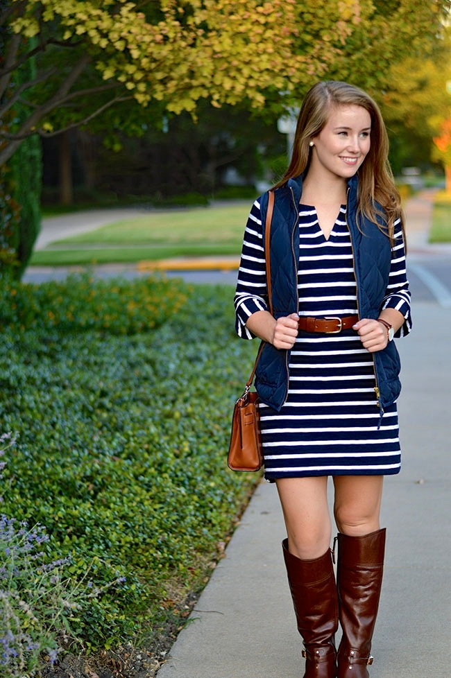 Style a puffer vest with a dress!