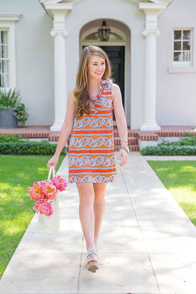 ruffle shift dress, orange shift dress, orange and navy dress, tory burch wedges, white wedges, scalloped purse, kate spade scalloped purse, monogrammed tote, monogrammed scalloped tote, luxy hair extensions, pink peonies, southern girl style, sorority girl style