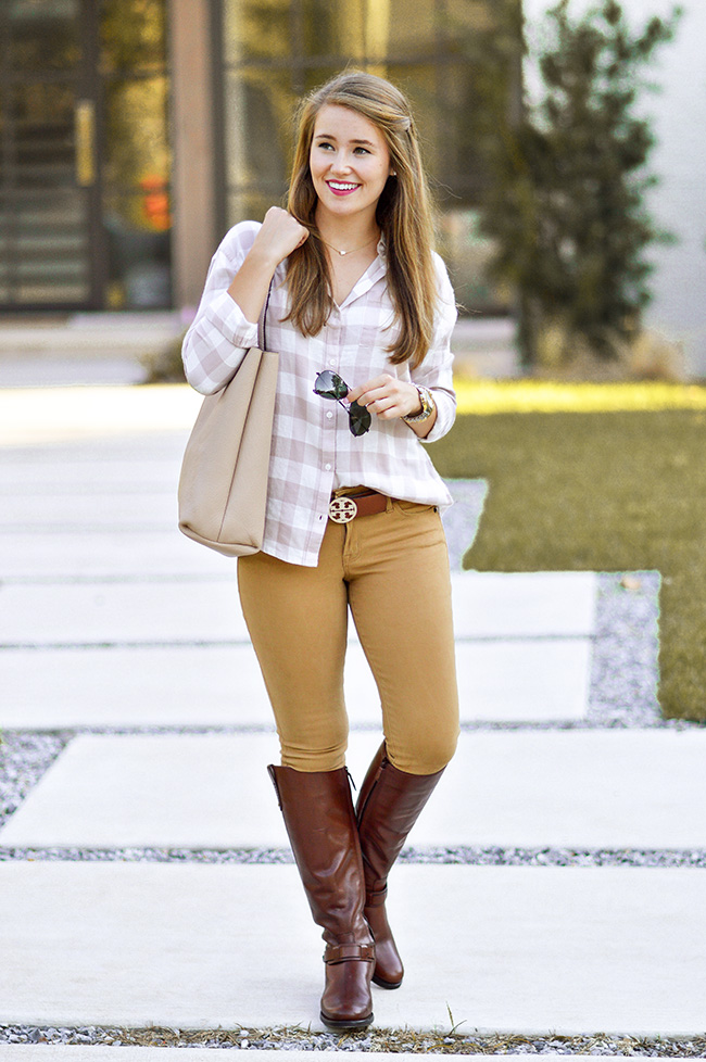 fall style, fall fashion, preppy fall fashion, preppy fall style, preppy girl, southern girl, sorority girl, tory burch riding boots, tory burch derby riding boots, black aviators, plaid button down, blush tote, tory burch belt, classic fall style