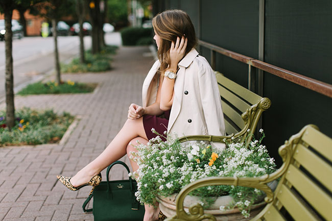 ivy league, ivy league fashion, college girl, varsity fashion, kate spade candace street satchel, green purse, leopard pumps, sam edelman d'Orsay, trench coat