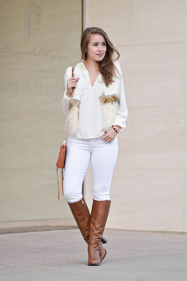 white fur vest, chic wish vest, white vest, white in winter, southern girl style, rebecca mink mini mac, heeled riding boots