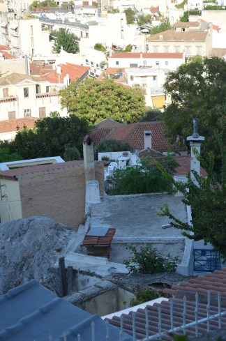 Those white chairs are our patio. This view is from our walk up to the Acropolis