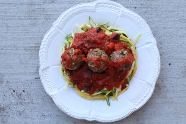 Zoodles and meatballs. Recipe via A Lo Profile (www.aloprofile.com)