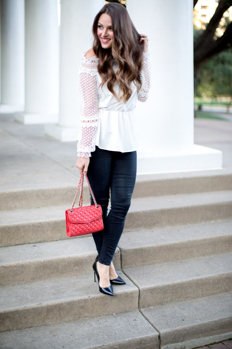 White lace top & black skinny jeans