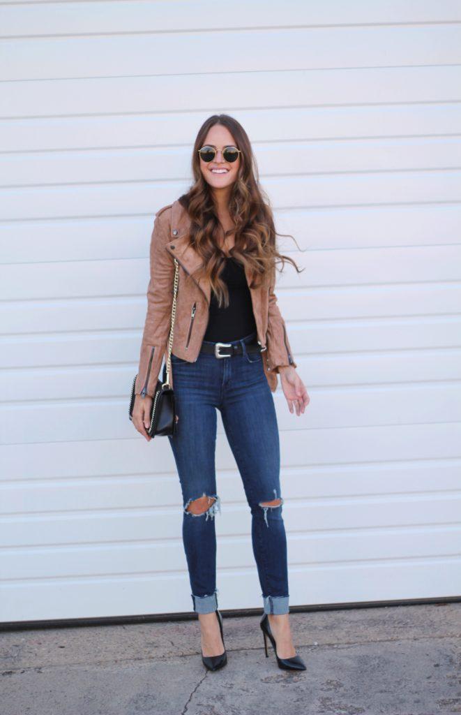 Black bodysuit and suede jacket via A Lo Profile