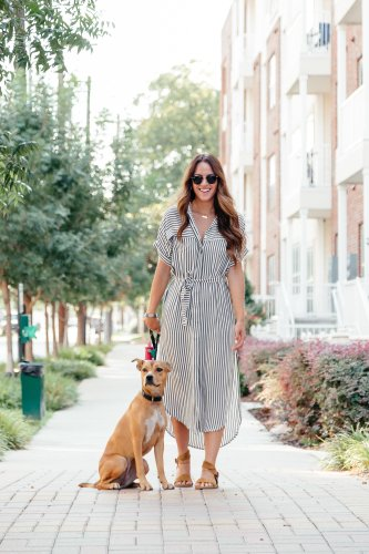 Every Day Comfort: sharing a pair of Hushpuppies sandals styled with a multipurpose striped shirt dress along side my four legged bestie.