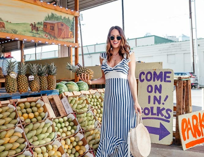 Swoon Worthy Vacation Dresses: Dallas blogger sharing a beautiful striped dress and twenty other gorgeous vacation dresses that are practical, yet make a statement for your next trip. #vacationstyle #vacationdress #springstyle #stripeddress