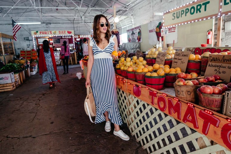 dfeba68b6a Swoon Worthy Vacation Dresses  Dallas blogger sharing a beautiful striped  dress and twenty other gorgeous