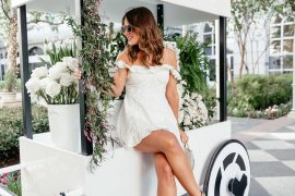 Dallas blogger A Lo Profile wearing a white eyelet and lace off-the-shoulder dress