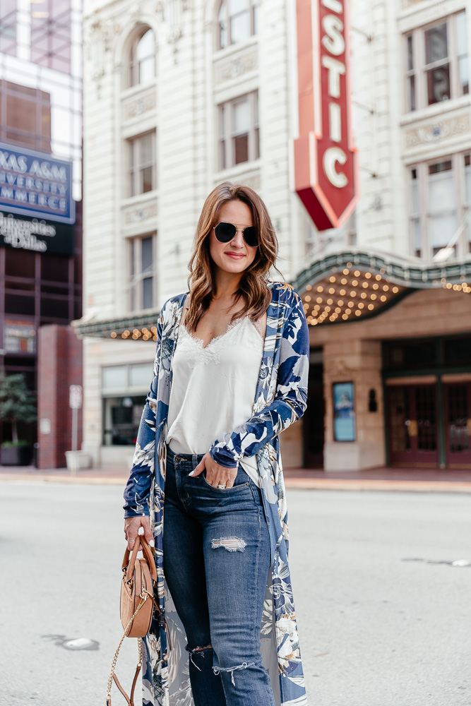 A Lo Profile styling a blue printed kimono for summer