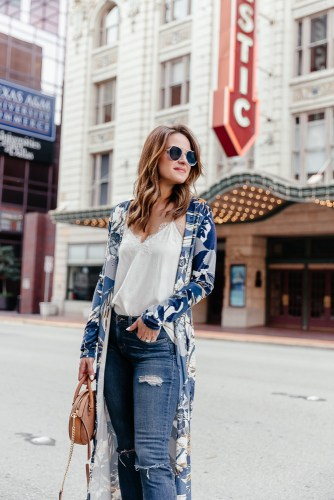 A Lo Profile styling a blue printed kimono with tan wedges and blue sunnies for spring
