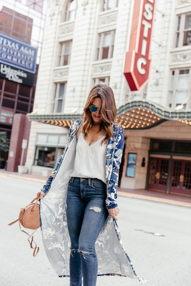 Dallas blogger Lauren Roscopf wearing a blue printed duster jacket with marc fisher wedges, a circle rebecca minkoff bag, a white cami nyc top, distressed hudson jeans, and blue fendi sunglasses