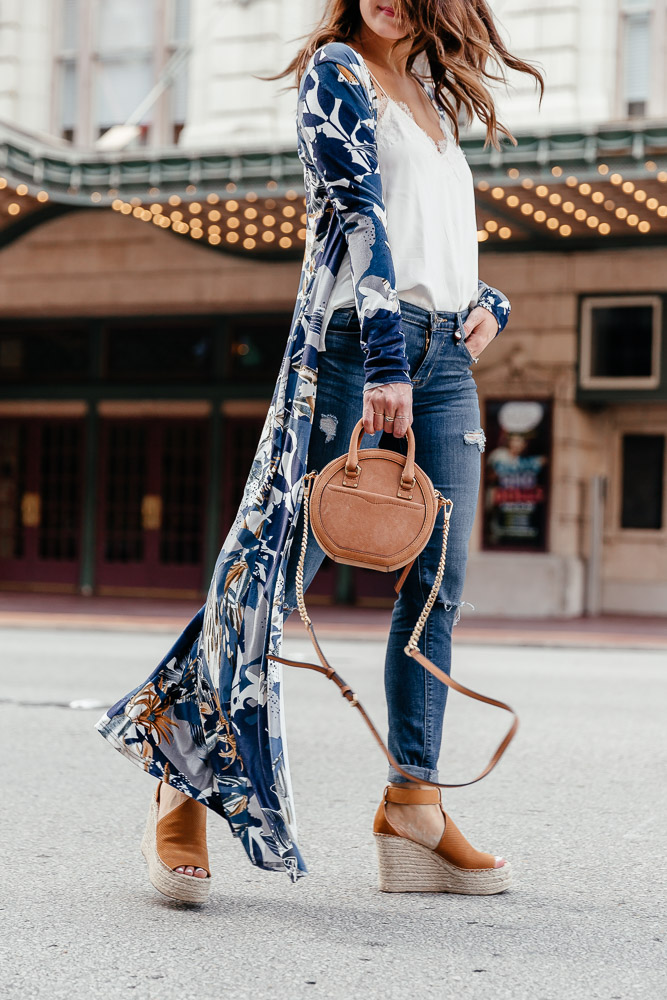 A Lo Profile styling a blue printed kimono with a white cami nyc top, hudson distressed jeans, marc fisher wedges, and a rebecca minkoff bag