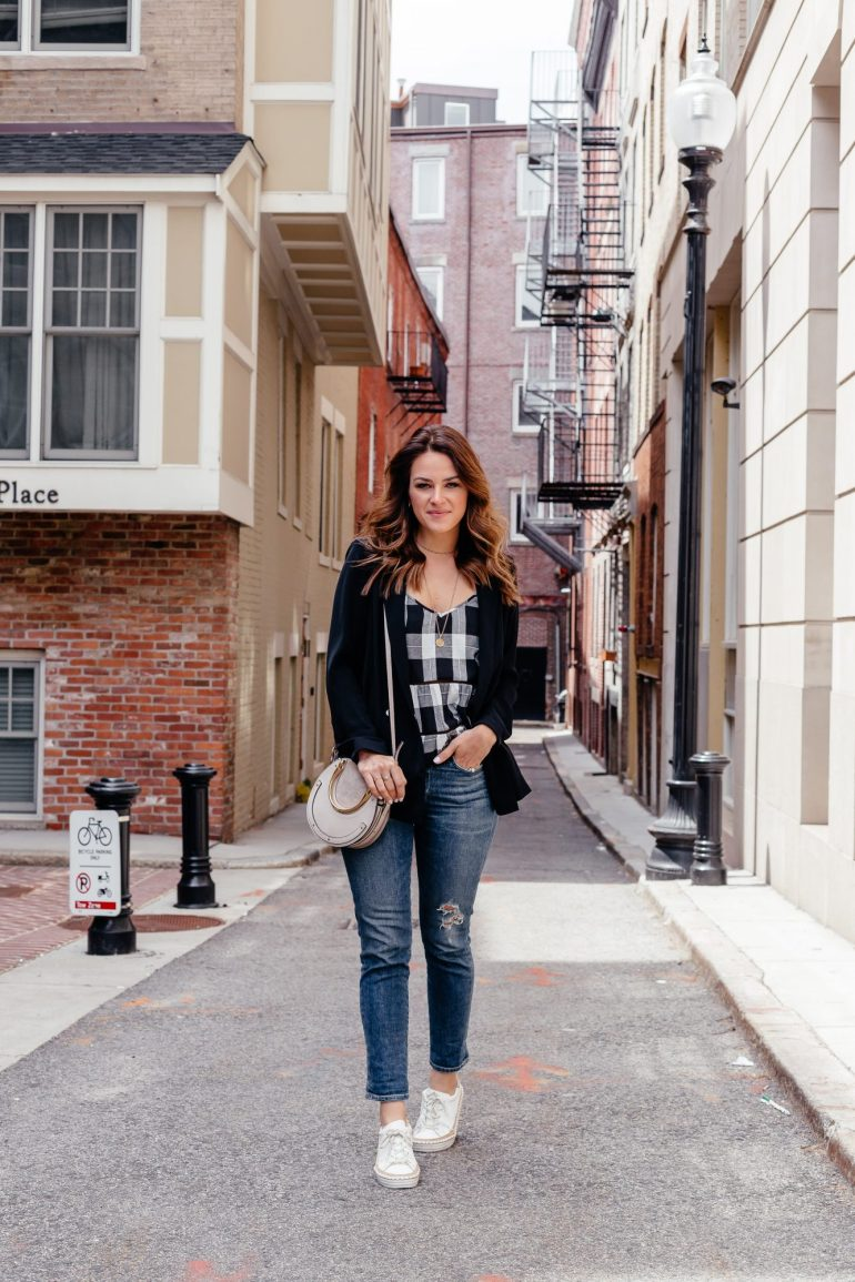 A Lo Profile wearing a gingham cami with a black topshop blazer, distressed Citizens of Humanity jeans, white espadrille sneakers, and a gray chloe bag