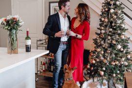 Couple and dog with Christmas Decor