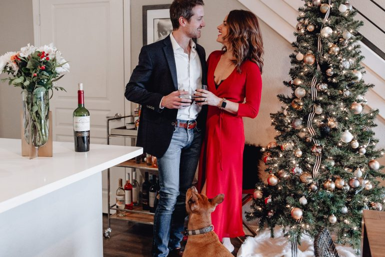 Couple and dog with Christmas Decor