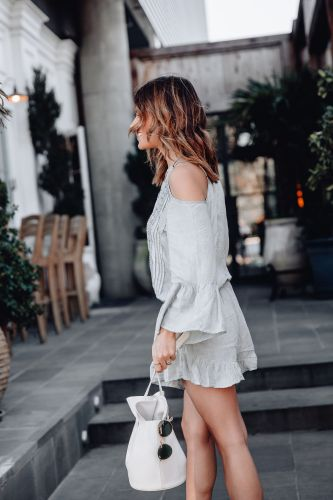 Sharing a cute resort outfit and a roundup of the cutest spring 2019 swim including cover ups, swimsuits, and accessories all from Bloomingdales.