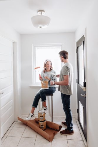 Sharing our clean slate of our house & why we decided to use Benjamin Moore White Dove paint in our home + a Benjamin Moore paint review.
