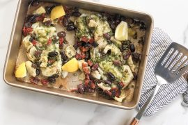 Sharing an easy, Whole 30 approved Mediterranean cod recipe that takes just a few minutes to prepare & is so so delicious!