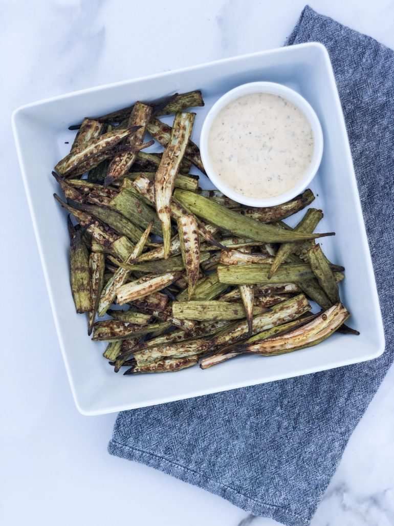Sharing an easy & delicious Whole 30 Okra Fries Recipe with a dairy free habenero ranch for dipping that is great as an appetizer or side dish.