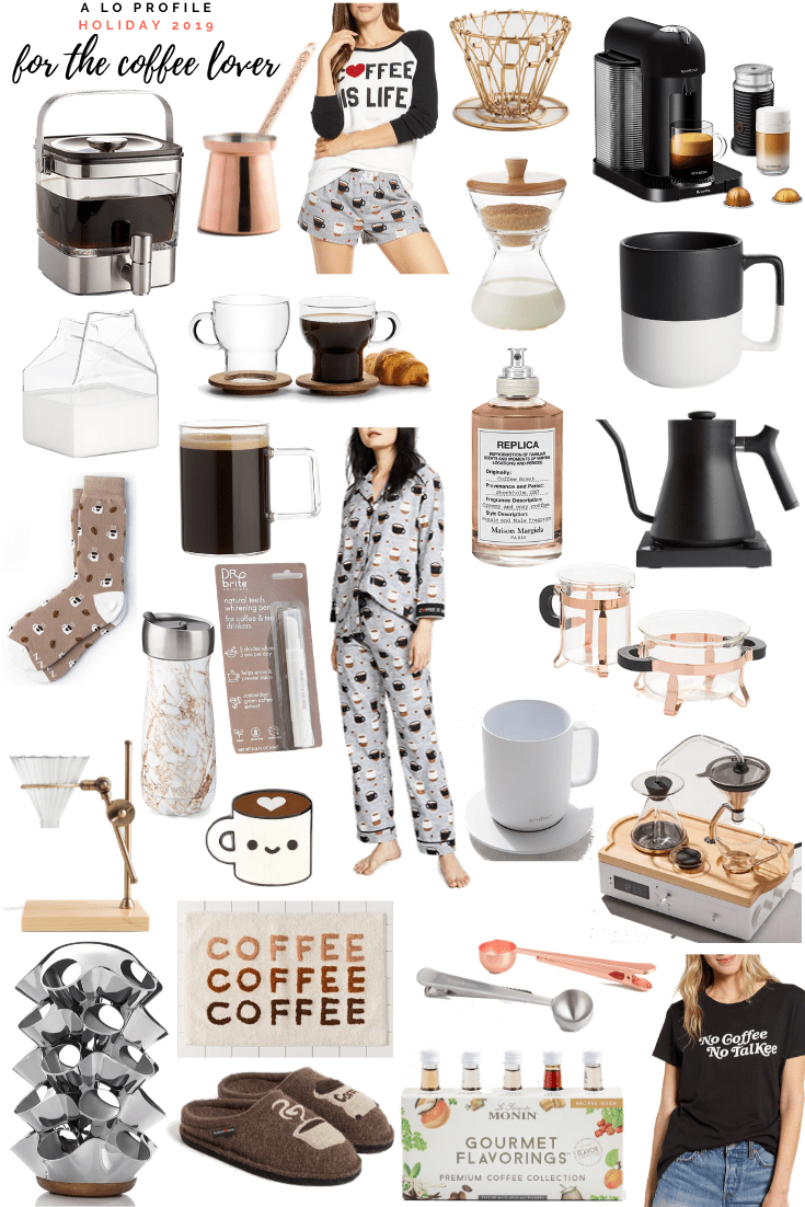 Sharing a collage roundup of the best gifts for the coffee lover in your life. I've included everything from coffee makers to clothing, mugs, & more!