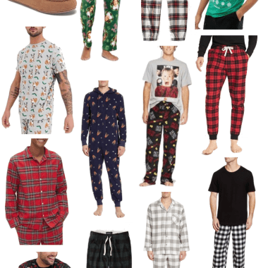 Sharing a collage featuring my top picks for holiday PJs for him so you can get any man in your life a new pair of pajamas just in time for the holidays.