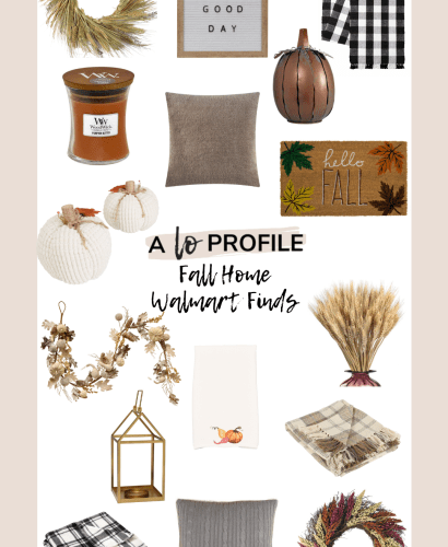 Sharing an easy to shop collage featuring Fall home Walmart finds with everything from wreaths, door mats, pumpkins, candles, & more.