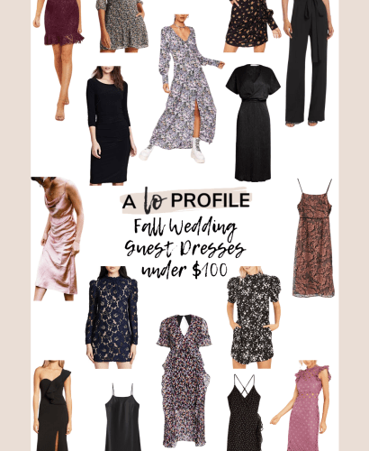 Sharing an easy to shop collage featuring Fall wedding guest dresses under $100 for any type of Fall wedding you have coming up this season.