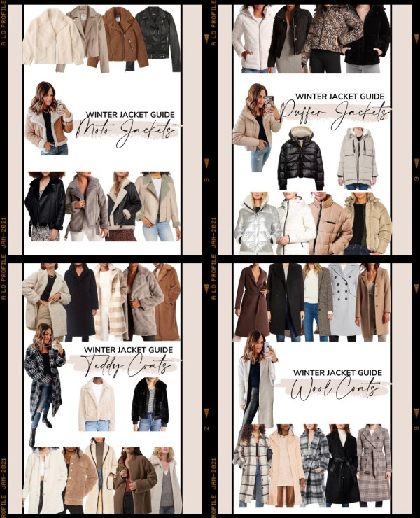 Sharing my winter jacket guide featuring four shoppable collages of different categories of coats with several affordable options in each.