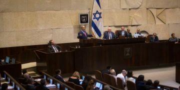 Israeli Prime Minister, Benjamin Netanyahu, gestures during a speech at the Knesset, Israel's Parliament in Jerusalem, Monday, Oct. 31, 2016. Netanyahu spoke at the opening of the Israeli parliament's winter session on Monday. (AP Photo/Sebastian Scheiner)