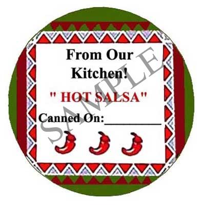 HOT Salsa Round Canning Label #L156