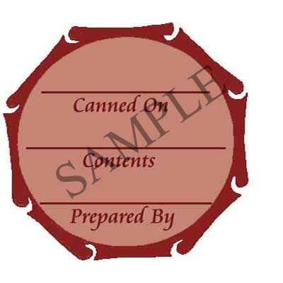 Brown Scroll Round Canning Label #L243