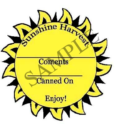 Sunshine Round Canning Label #L246