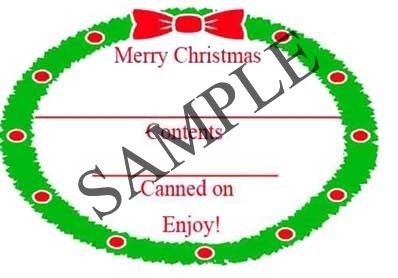 Christmas Wreath Border Oval Canning Label #OV317