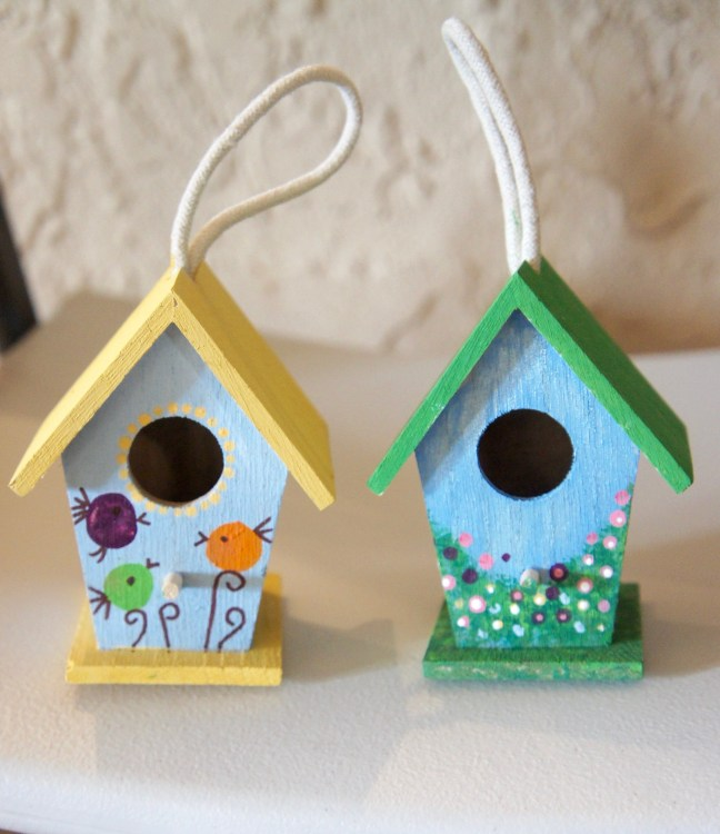 My friend Renee (the grandma-to-be) painted these adorable birdhouses!