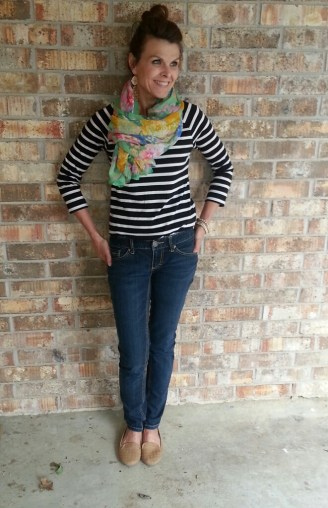 Skinny Jeans, Striped Tee, Scarf