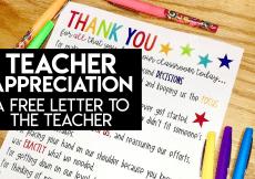 Teacher Appreciation: A Free Letter to the Teacher
