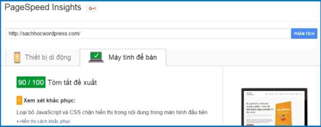 Kiểm tra tốc độ website wordpress với PageSpeed Insights