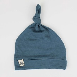 bonnet mérinos bébé bleu canard