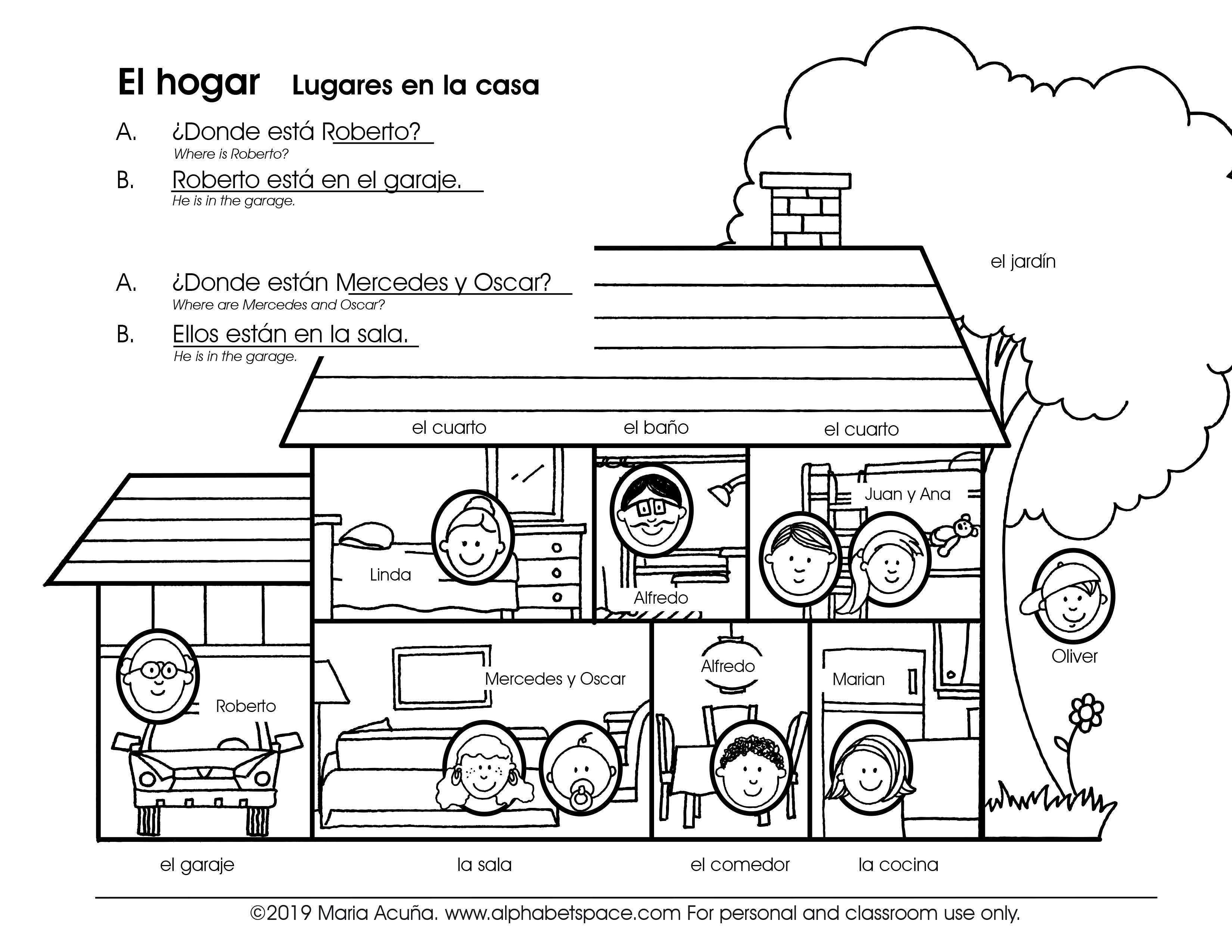Lugares En El Hogar Places At Home Spanish For Children