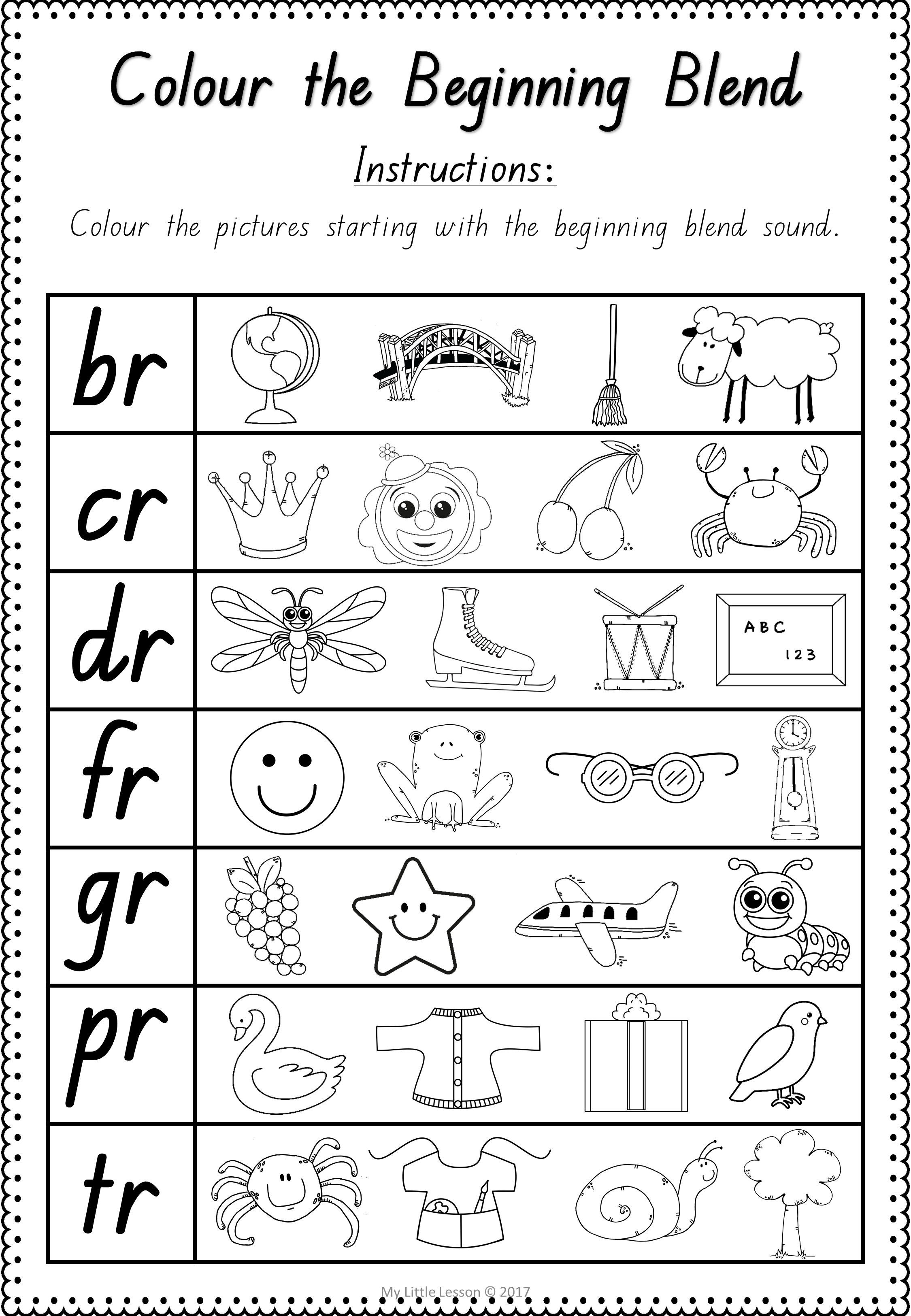 Worksheets Blends Bl And Br