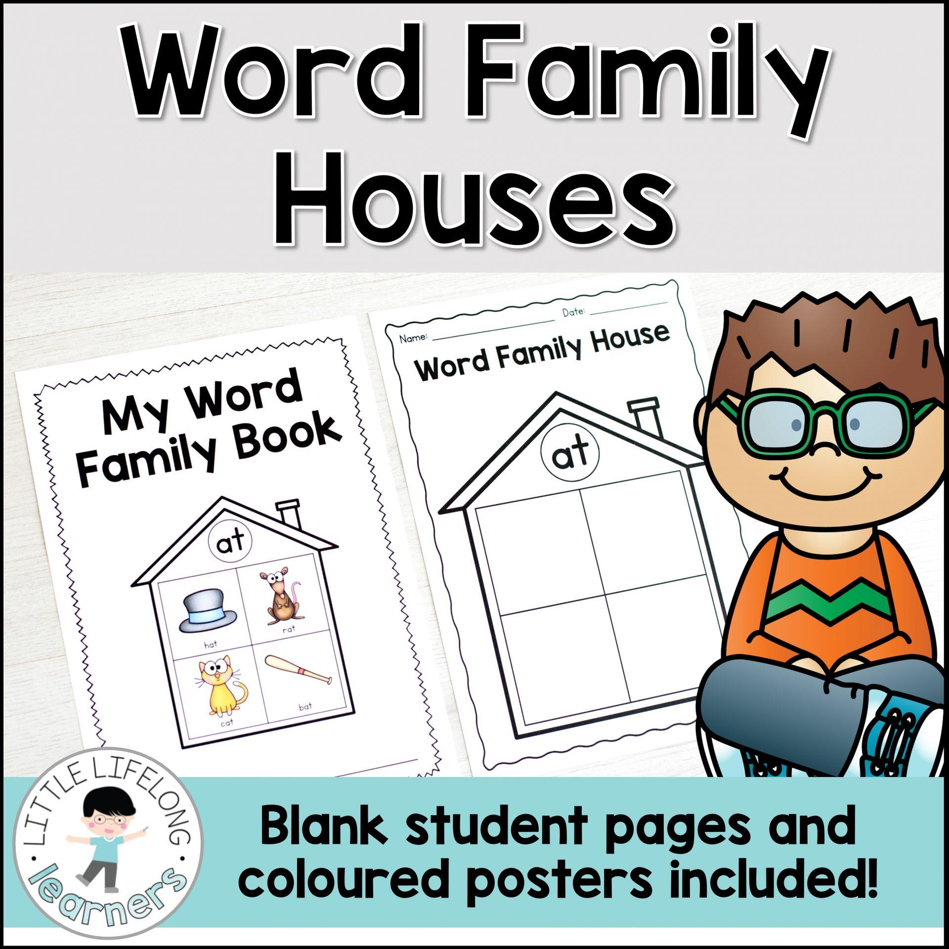 Printable Word Family Houses