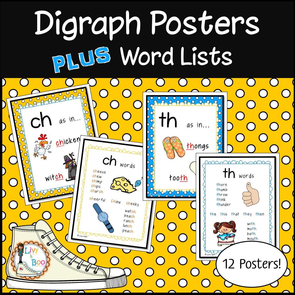 Digraph Posters Word Lists