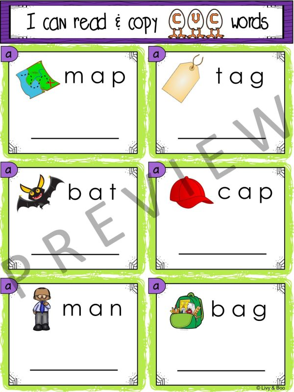 I Can Read & Copy CVC Words - 120 Phonics Sounding Cards ...