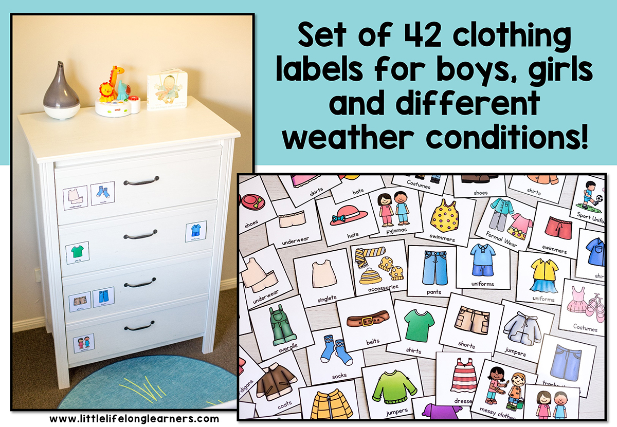 Kids Clothing Drawer Labels