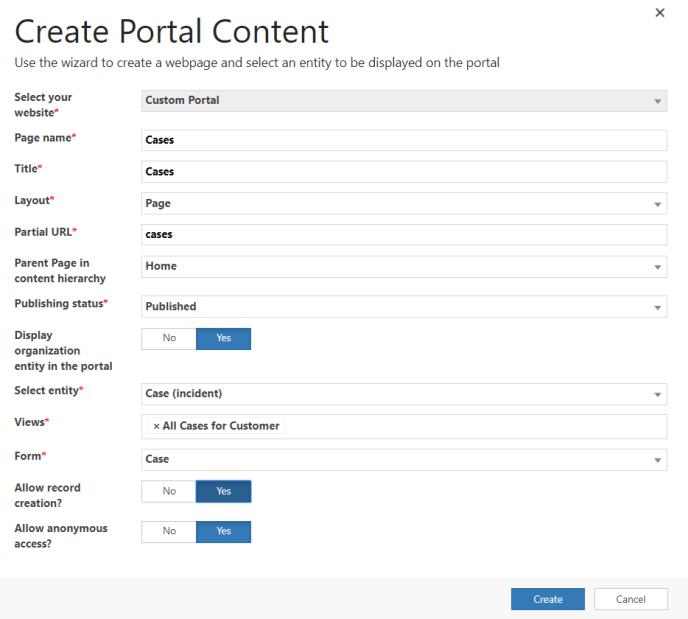 Create Portal PopUp Dynamics Portal