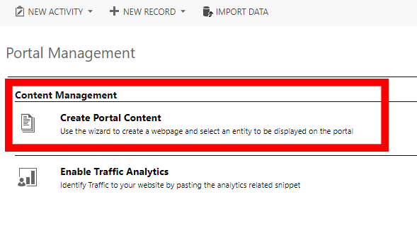 Create Portal Content in Dynamics CRM