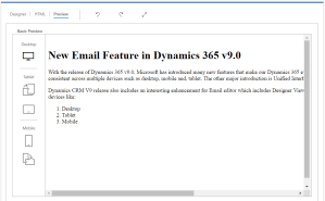 Dynamics 365 Email Preview Mode