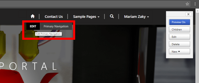 Dynamics CRM Portal Primary Navigation